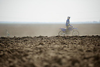 111th Paris-Roubaix 2013..off-road enforcer clearing the track