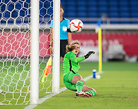 YOKOHAMA, JAPAN - JULY 30: Alyssa Naeher #1 of the USWNT watches a penalty kick go in during a game between Netherlands and USWNT at International Stadium Yokohama on July 30, 2021 in Yokohama, Japan.