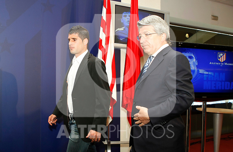 Atletico de Madrid's new player Fran Merida (l) with the President Enrique Cerezo during his presentation.May,28,2010..(ALTERPHOTOS/Acero)