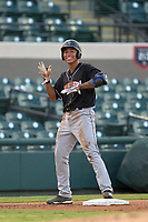 Jupiter Hammerheads Marcus Chiu (14) after hitting a triple during a game against the Lakeland Flying Tigers on July 30, 2021 at Joker Marchant Stadium in Lakeland, Florida.  (Mike Janes/Four Seam Images)