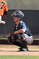 Milwaukee Brewers catcher Milan Post (18) during an Instructional League game against the San Francisco Giants on October 10, 2014 at Maryvale Baseball Park Training Complex in Phoenix, Arizona.  (Mike Janes/Four Seam Images)