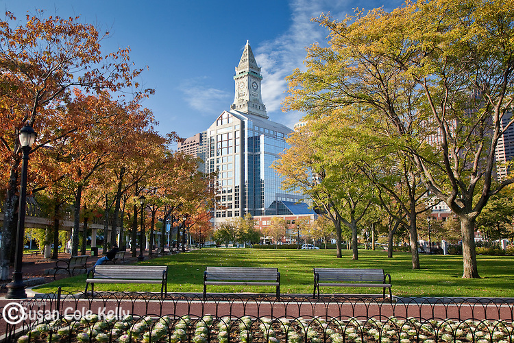 Early autumn in Christopher Columbus Waterfront Park in Boston, MA