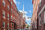 The steeple of the Old North Church, Freedom Trail, Boston National Historical Park, Boston, MA, USA