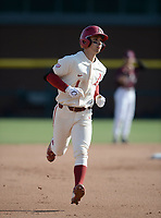 Arkansas second baseman Robert Moore rounds the bases Wednesday, April 7, 2021, after hitting a solo home run during the fourth inning of the Razorbacks' 10-3 win over UALR at Baum-Walker Stadium in Fayetteville. Visit nwaonline.com/210408Daily/ for today's photo gallery. <br /> (NWA Democrat-Gazette/Andy Shupe)