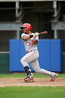 Greeneville Reds right fielder Reniel Ozuna (27) hits an RBI single during the first game of a doubleheader against the Princeton Rays on July 25, 2018 at Hunnicutt Field in Princeton, West Virginia.  Princeton defeated Greeneville 6-4.  (Mike Janes/Four Seam Images)