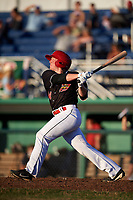 Batavia Muckdogs designated hitter Gunnar Schubert (44) at bat during a game against the State College Spikes on July 7, 2018 at Dwyer Stadium in Batavia, New York.  State College defeated Batavia 7-4.  (Mike Janes/Four Seam Images)