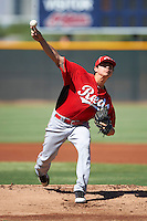 Cincinnati Reds minor league pitcher Jose Amezcua #51 during an instructional league game against the Cleveland Indians at the Goodyear Training Complex on October 8, 2012 in Goodyear, Arizona.  (Mike Janes/Four Seam Images)
