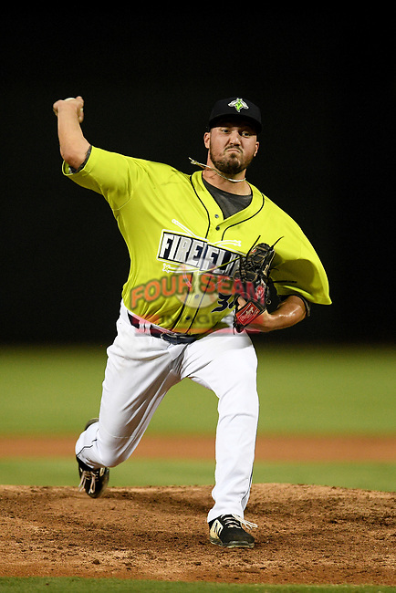 Pitcher Justin Lasko (38) of the Columbia Fireflies delivers a pitch in a game against the Hickory Crawdads on Tuesday, August 27, 2019, at Segra Park in Columbia, South Carolina. Columbia won, 3-2. (Tom Priddy/Four Seam Images)
