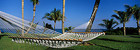 "Iles Bahamas / New Providence et Paradise Island / Nassau : Hotel ""One & Only Océan Club"" hamac dans le parc en fond l'océan ://   Bahamas Islands / New Providence and Paradise Island / Nassau: Hotel ""One & Only Ocean Club"" hammock in the park in the ocean bottom"