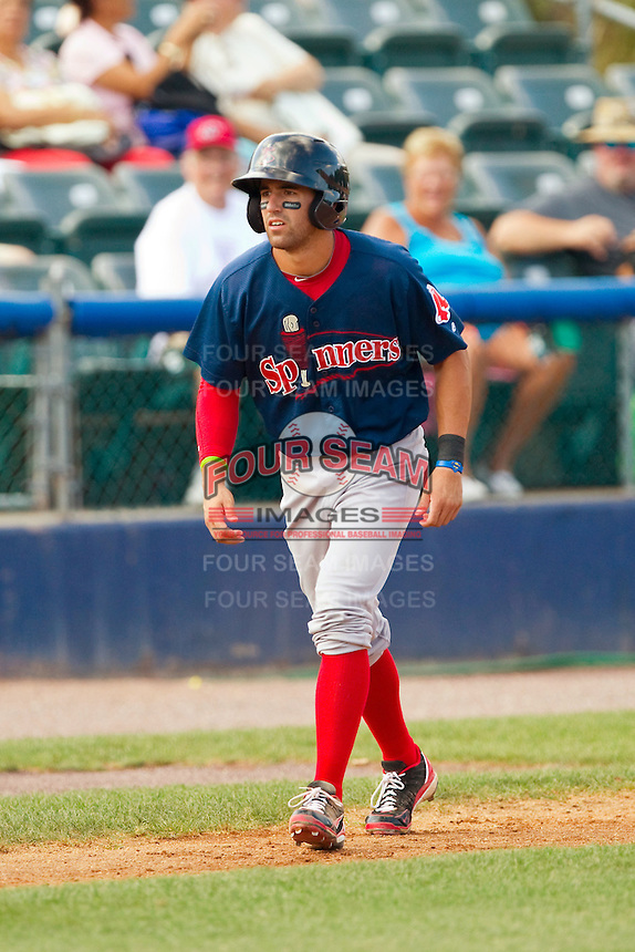 Deven Marrero (6) of the Lowell Spinners takes his lead off of third base against the Hudson Valley Renegades at Dutchess Stadium on August 12, 2012 in Wappingers Falls, New York.  (Brian Westerholt/Four Seam Images)