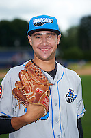 Hudson Valley Renegades pitcher Brock Burke (23) poses for a photo before a game against the Batavia Muckdogs on July 31, 2016 at Dwyer Stadium in Batavia, New York.  Hudson Valley defeated Batavia 4-1.  (Mike Janes/Four Seam Images)