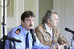 Garda Superintendant Michael Devine and Henry Mountcharles during the press conference for the Foo Fighters in Slane Castle on Thursday 21st May 2015.<br /> Picture:  Thos Caffrey / www.newsfile.ie