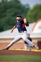 Lowell Spinners starting pitcher Chris Machamer (38) delivers a pitch during a game against the Batavia Muckdogs on July 16, 2018 at Dwyer Stadium in Batavia, New York.  Lowell defeated Batavia 4-3.  (Mike Janes/Four Seam Images)