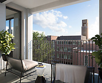 BNPS.co.uk (01202) 558833. <br /> Pic: Savills/BNPS<br /> <br /> Pictured: Hornsey Town Hall balcony.<br /> <br /> Apartments in the grounds of an iconic 1930s building where Queen first appeared in concert and the TV series Whitechapel was filmed, have gone on sale.<br /> <br /> The new owners will live alongside Hornsey Town Hall, which has appeared in a string of movies and TV series including The Crown and Killing Eve.<br /> <br /> Rock band Queen performed their first concert there in 1971 as a supporting band and part of the 2018 film Bohemian Rhapsody starring Rami Malek was made there.<br /> <br /> The flats, which start from £505,000, are part of the development of the iconic modernist building in Crouch End, North London.
