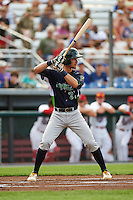 Vermont Lake Monsters shortstop Eli White (27) at bat during a game against the Auburn Doubledays on July 12, 2016 at Falcon Park in Auburn, New York.  Auburn defeated Vermont 3-1.  (Mike Janes/Four Seam Images)