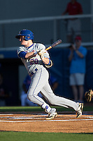 Ian Strom (20) of the Kingsport Mets follows through on his swing against the Danville Braves at American Legion Post 325 Field on July 9, 2016 in Danville, Virginia.  The Mets defeated the Braves 10-8.  (Brian Westerholt/Four Seam Images)