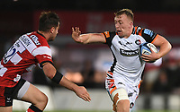 24th September 2021;  Kingsholm Stadium, Gloucester, England; Gallaher Premiership Rugby, Gloucester Rugby versus Leicester Tigers: Tommy Reffell of Leicester Tigers hands off Mark Atkinson of Gloucester