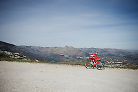 a Team Katusha rider descending from the higher regions (a small bike path) of the  Coll de Rates (Alicante, Spain)<br /> <br /> January 2016 Training Camps