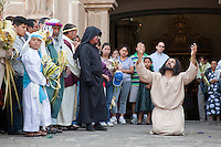 The Devil Tries to Tempt Jesus.  (Luke 4:1-13)  Palm Sunday Re-enactment of events in the life of Jesus, by the group called Luna LLena (Full Moon), a group of volunteers in Antigua, Guatemala.  Jesus is played by Rodrigo Gaytan, the Devil by Luis Garcia.