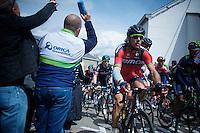 Philippe Gilbert (BEL/BMC) up the Côte de Saint-Roche (1850m/6.3%)<br /> <br /> 101th Liège-Bastogne-Liège 2015