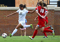 WINSTON-SALEM, NORTH CAROLINA - September 01, 2013:<br /> Chelsea Hunter (10) of Louisville University defends against Katie Stengel (12) of Wake Forest University during a match at the Wake Forest Invitational tournament at Wake Forest University on September 01. The match was abandoned early in the second half due to severe weather with Wake leading 1-0.