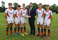 Ulster Rugby Schools 2018-2019<br /> <br /> Wallace High School players Ben Carson, Joel Dundas, Nathan Doak, Reuban Crothers and Jack Dillon with Danske Bank representative Ian Russell.<br /> <br /> Photo by John Dickson / DICKSONDIGITAL