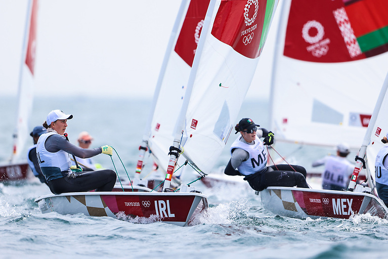 Annalise Murphy rounds a weather mark in race three of the Tokyo Olympic Regatta