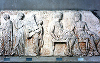 Greek Arts:  Parthenon Sculptures, East Frieze V.  The sacred robe (peplos)--Athena and Hephaistos.  Trustees of the British Museum 1986.