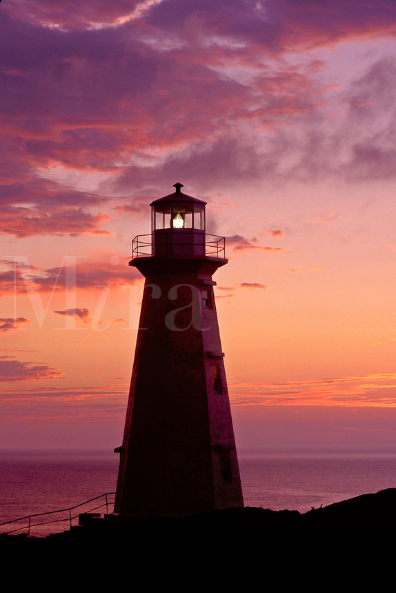 lighthouse, sunrise, sunset, Newfoundland, NF, Canada, Lighthouse at Cape Spear National Historic Site, Easternmost Point of North America at sunrise on the Atlantic Ocean.