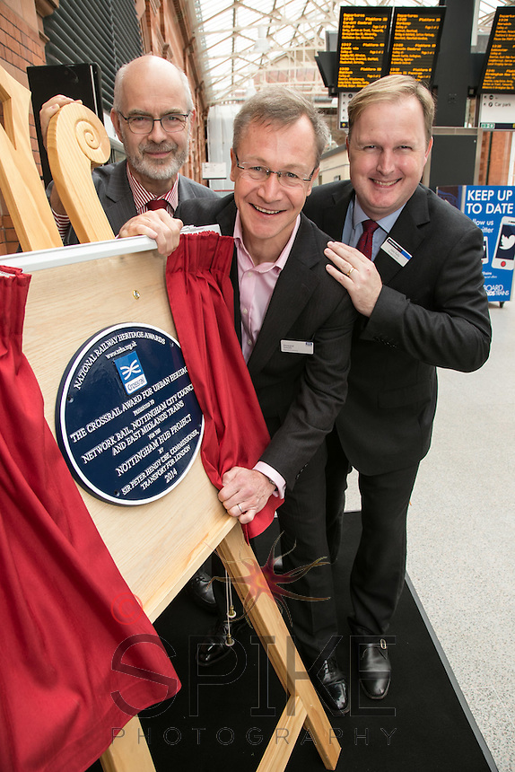 Pictured at the unveiling of The Crossrail Award for Urban Heritage at Nottingham Station are from left, Andy Savage, Trustee of the National Railway Heritage Awards, Howard Smith, Operations Director for Crossrail and Jake Kelly, Managing Director of East Midlands Trains.