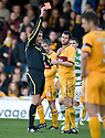 MOTHERWELL'S TIM CLANCY IS SENT OFF AFTER A CLASH WITH CELTIC'S GARY HOOPER