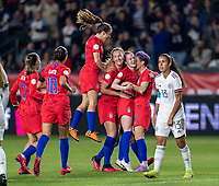 CARSON, CA - FEBRUARY 7: Sam Mewis #3, Rose Lavelle #16 and Megan Rapinoe #15 of the United States celebrate during a game between Mexico and USWNT at Dignity Health Sports Park on February 7, 2020 in Carson, California.