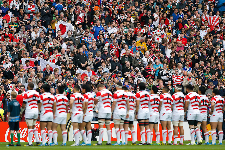 Japan fans during the anthems - Mandatory byline: Rogan Thomson - 03/10/2015 - RUGBY UNION - Stadium:mk - Milton Keynes, England - Samoa v Japan - Rugby World Cup 2015 Pool B.