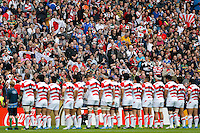 Japan fans during the anthems - Mandatory byline: Rogan Thomson - 03/10/2015 - RUGBY UNION - Stadium:mk - Milton Keynes, England - Samoa v Japan - Rugby World Cup 2015 Pool B.