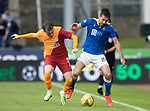 St Johnstone v Galatasaray…12.08.21  McDiarmid Park Europa League Qualifier<br />Callum Booth and Kerem Akturkoglu<br />Picture by Graeme Hart.<br />Copyright Perthshire Picture Agency<br />Tel: 01738 623350  Mobile: 07990 594431