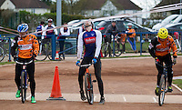 19 APR 2015 - IPSWICH, GBR - Josh Brooke (centre) of Ipswich Eagles and Radek Handke (left) of Sheffield Stars get caught in the starting gate as Pawel Idziorek (right) of Sheffield Stars gets away cleanly during the two teams Elite League cycle speedway fixture at Whitton Sports and Community Centre in Ipswich, Suffolk, Great Britain (PHOTO COPYRIGHT © 2015 NIGEL FARROW, ALL RIGHTS RESERVED)