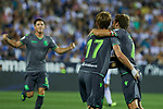 Real Sociedad's David Zurutuza (l) and Asier Illarramendi (r) celebrate goal during La Liga match. August 24, 2018. (ALTERPHOTOS/A. Perez Meca)