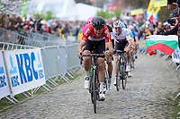 Tiesj Benoot (BEL/Lotto-Soudal) leading the favorites bunch up the Oude Kwaremont<br /> <br /> 102nd Ronde van Vlaanderen 2018 (1.UWT)<br /> Antwerpen - Oudenaarde (BEL): 265km