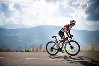 Richie Porte (AUS/Trek-Segafredo) up the finish climb & the highest peak of the 2020 #TdF: the Col de la Loze (HC/2304m/21,5km @7,8%)<br /> <br /> Stage 17 from Grenoble to Méribel - Col de la Loze (170km)<br /> <br /> 107th Tour de France 2020 (2.UWT)<br /> (the 'postponed edition' held in september)<br /> <br /> ©kramon