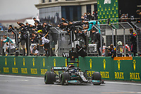 10th October 2021; Formula 1 Turkish Grand Prix 2021 Race Day Istanbul Park Circuit, Istanbul, Turkey;  77 BOTTAS Valtteri fin, Mercedes AMG F1 GP W12 E Performance celebrating his win  at the chequered flag