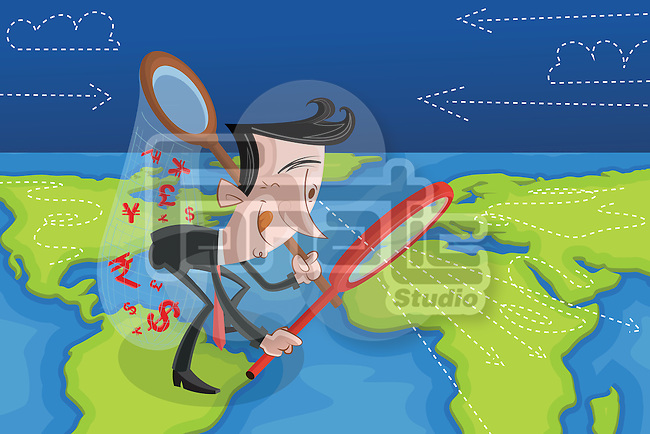 Illustrative image of businessman examining global market through magnifying glass