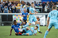 SAN JOSE, CA - AUGUST 17: Jan Gregus #8 and Wil Trapp #20 of Minnesota United battle Jeremy Ebobisse #11 of the San Jose Earthquakes during a game between San Jose Earthquakes and Minnesota United FC at PayPal Park on August 17, 2021 in San Jose, California.