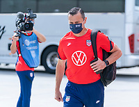 ORLANDO, FL - FEBRUARY 21: Vlatko Andonovski of the USWNT walks into the stadium before a game between Brazil and USWNT at Exploria Stadium on February 21, 2021 in Orlando, Florida.