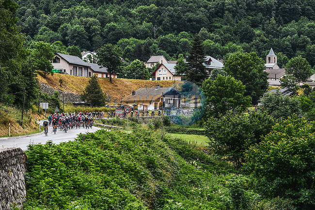 The peloton during Stage 16 of the 2021 Tour de France, running 169km from Pas de la Case to Saint-Gaudens, France. 13th July 2021.  <br /> Picture: A.S.O./Charly Lopez   Cyclefile<br /> <br /> All photos usage must carry mandatory copyright credit (© Cyclefile   A.S.O./Charly Lopez)