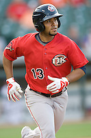 Oklahoma CIty SS Gregorio Petit on Tuesday August 24th, 2010 at the Dell Diamond in Round Rock, Texas.  (Photo by Andrew Woolley / Four Seam Images)