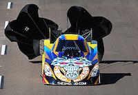 Oct. 16, 2011; Chandler, AZ, USA; NHRA funny car driver Jim Head during the Arizona Nationals at Firebird International Raceway. Mandatory Credit: Mark J. Rebilas-