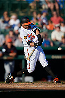 Baltimore Orioles third baseman Renato Nunez (39) swings at a pitch during a Grapefruit League Spring Training game against the Detroit Tigers on March 3, 2019 at Ed Smith Stadium in Sarasota, Florida.  Baltimore defeated Detroit 7-5.  (Mike Janes/Four Seam Images)