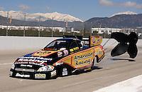 Feb. 27, 2011; Pomona, CA, USA; NHRA funny car driver Tony Pedregon during the Winternationals at Auto Club Raceway at Pomona. Mandatory Credit: Mark J. Rebilas-.