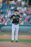 Salt Lake Bees starting pitcher Dylan Unsworth (12) delivers a pitch to the plate against the El Paso Chihuahuas at Smith's Ballpark on August 14, 2018 in Salt Lake City, Utah. El Paso defeated Salt Lake 6-3. (Stephen Smith/Four Seam Images)