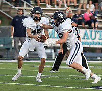 Har-Ber quarterback Matrick Samuel hand off to Hudson Brewer in the first half of Friday's game At Greenwood.